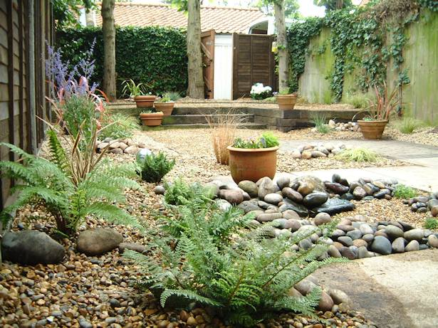 Mediteranean gardens on pinterest mediterranean garden for Low maintenance lawn design