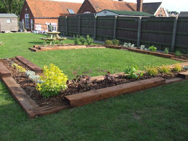 Commercial landscaping estate maintenance and public work for Garden design using railway sleepers