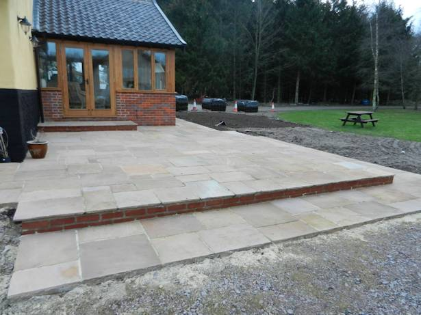 Case Study - Stepped Patio Laying near Hethersett