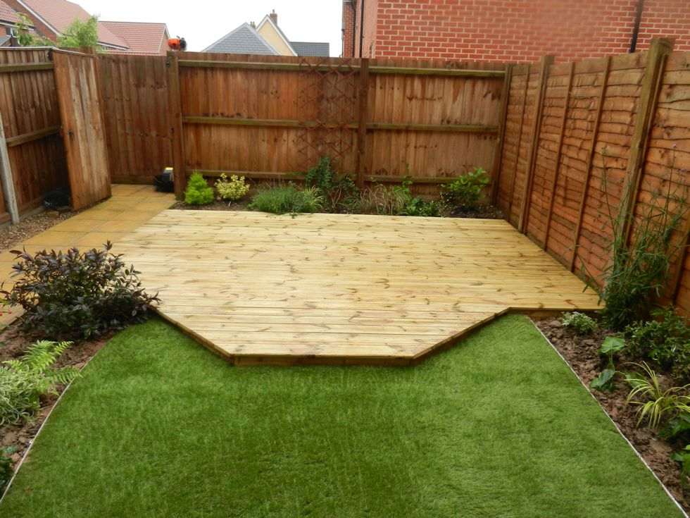Completed garden designs landscaping garden maintenance for Garden decking borders
